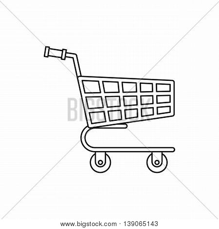 Shopping cart icon in outline style isolated vector illustration