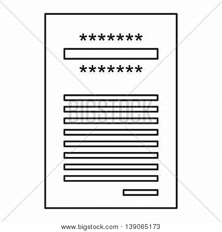 Sales printed receipt icon in outline style isolated vector illustration