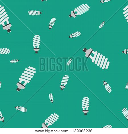 Vector seamless technical pattern with fluorescent spiral LED light electrical bulb on green background