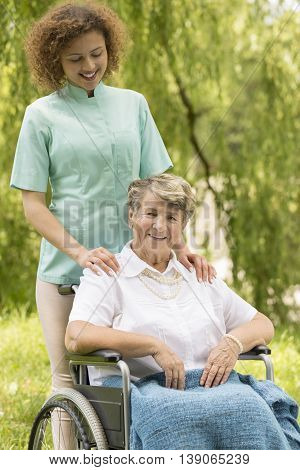Happy Woman With Caregiver