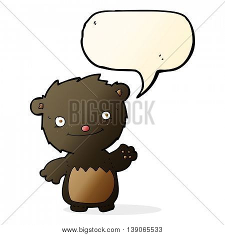 cartoon waving black bear cub with speech bubble