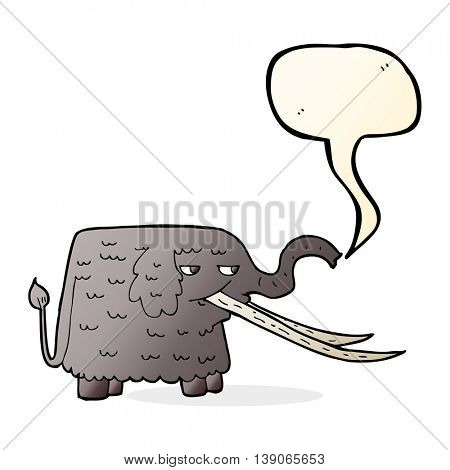 cartoon woolly mammoth with speech bubble