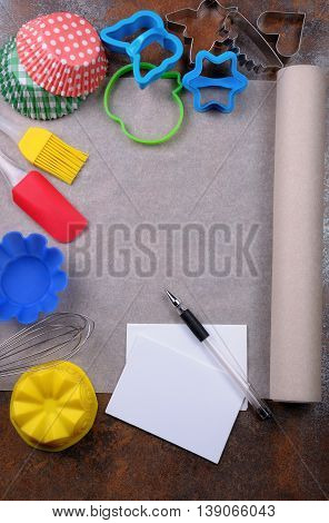 Baking paper lying on the table in items Places culinary