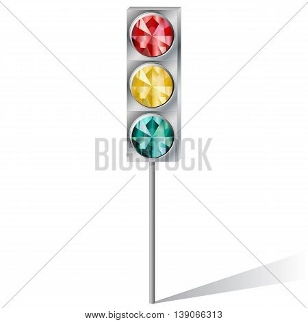 traffic light with precious stones ruby emerald topaz on a white background