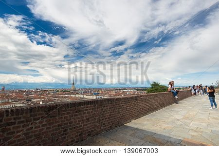 Turin, Italy - June 19, 2016: Tourists At Viewpoint In The Historical Centre Of Torino (turin, Italy