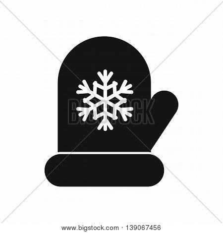 Mitten with white snowflake icon in simple style isolated vector illustration