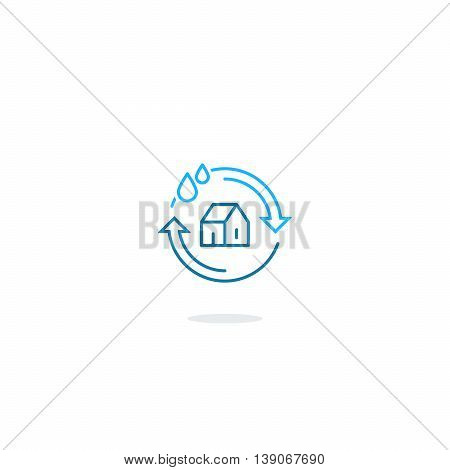House cleaning services, plumbing repair logo, home water filtering, hygiene icon symbol, water insurance sign, linear design