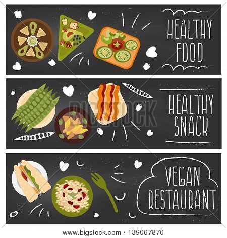 Set Of Banners For Theme Healthy Food,vegetarians Food .vector Illustration