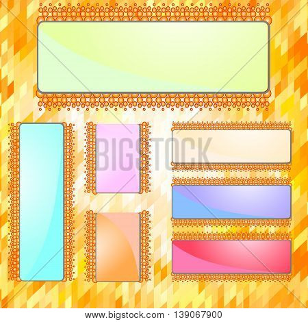 Horizontal and vertical banners set with polygonal triangles. Polygon background