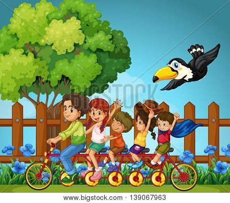 Family members riding in the park illustration