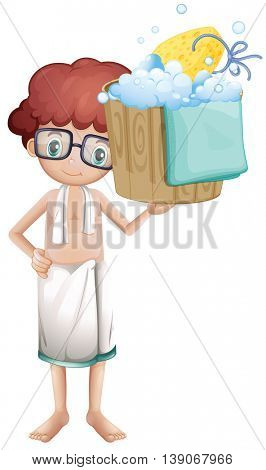 Boy holding bucket full of bubbles illustration
