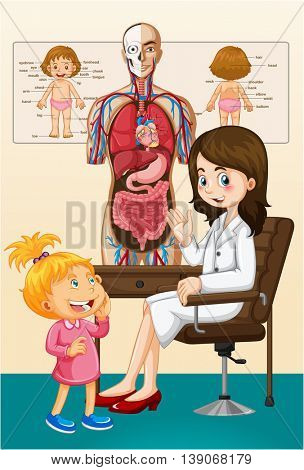 Girl and doctor at the clinic illustration
