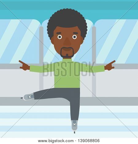 An african-american figure skater with the beard performing on indoor ice skating rink. Young hipster male figure skater dancing. Vector flat design illustration. Square layout.