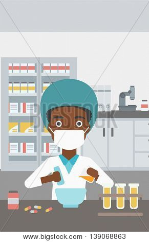 An african-american young female pharmacist in mask using mortar and pestle for preparing medicine in the laboratory. Vector flat design illustration. Vertical layout.