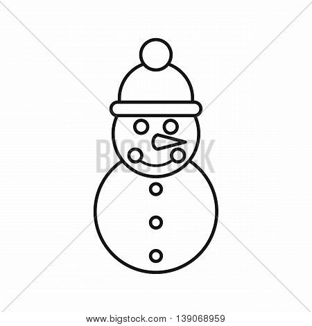 Snowman icon in outline style isolated vector illustration