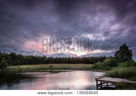 East Cramlington Local Nature Reserve at dusk, in Northumberland, providing free and easy access to nature