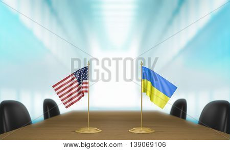United States and Ukraine relations and trade deal talks, 3D rendering