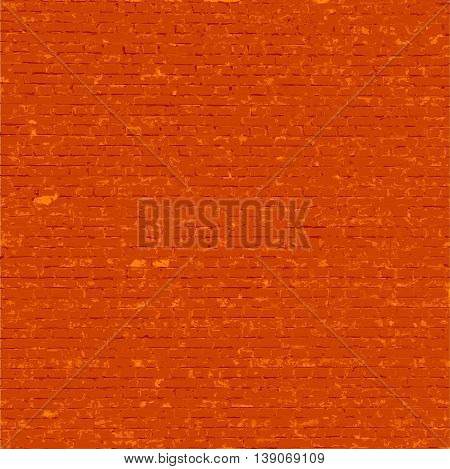 Vector weathered grungy rusty texture stained old stucco and aged red brick blocks wall background