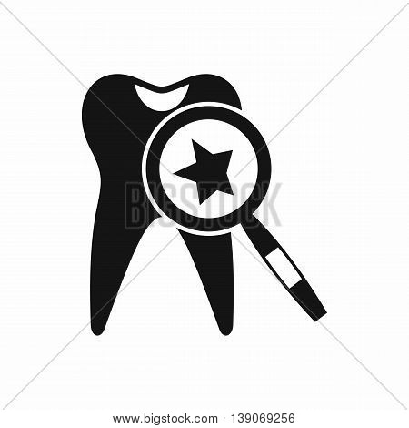 Tooth with magnifying glass icon in simple style isolated vector illustration