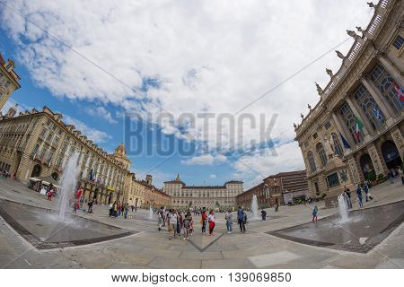 Turin, Italy - June 5, 2016: Tourists Roaming In The Historical Centre Of Torino (turin, Italy). Fac