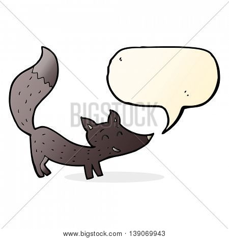 cartoon little wolf cub with speech bubble