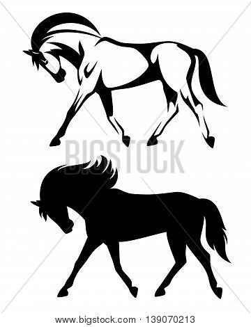 running horse black and white vector design - side view outline and silhouette