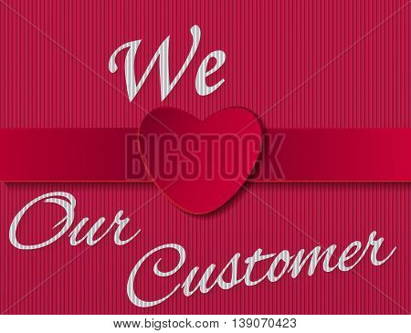 red card customer care with heart sign
