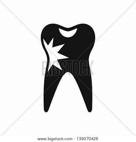 Cracked tooth icon in simple style isolated vector illustration