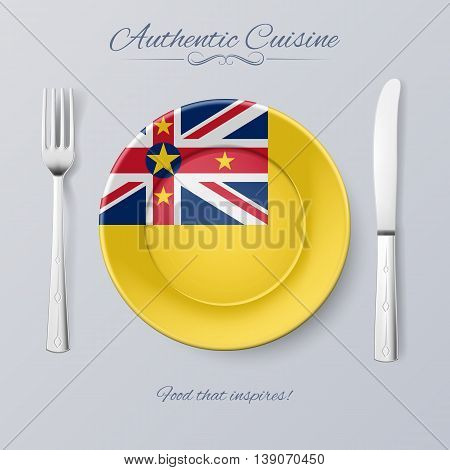 Authentic Cuisine of Niue. Plate with Niuen Flag and Cutlery