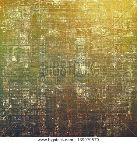 Vintage textured background with copy space. Old style backdrop with different color patterns: yellow (beige); brown; gray; black; green; red (orange)
