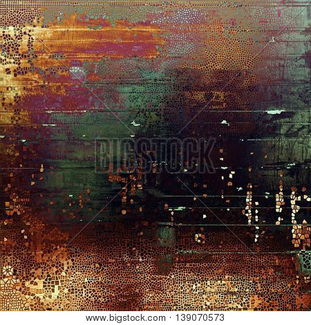 Aged background or texture. Vintage graphic composition with grunge style elements and different color patterns: yellow (beige); brown; black; green; red (orange); purple (violet)