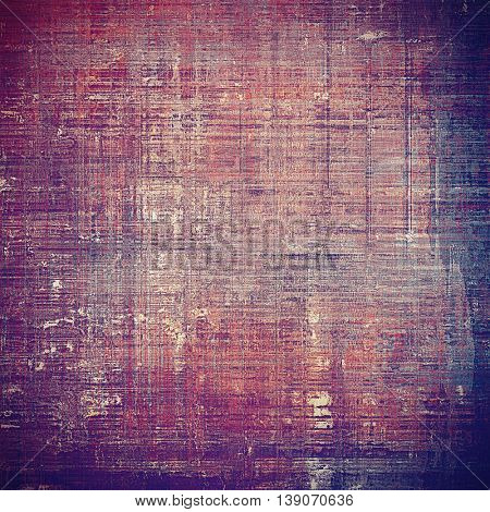 Oldest vintage background in grunge style. Ancient texture with different color patterns: blue; red (orange); purple (violet); pink