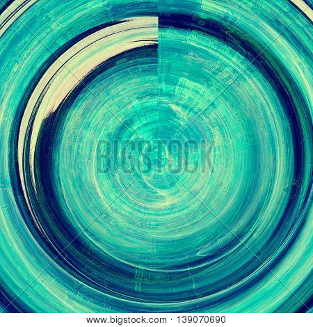 Spherical grunge texture or background with retro design elements and different color patterns: green; blue; white; cyan