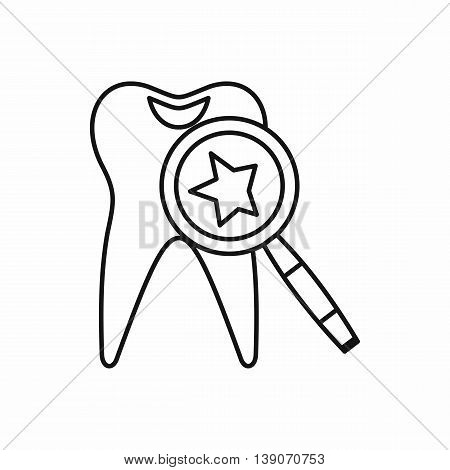 Tooth with magnifying glass icon in outline style isolated vector illustration
