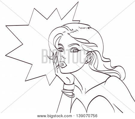 Very beautiful cartoon woman in pop art style. Lineart isolated vector eps 10.