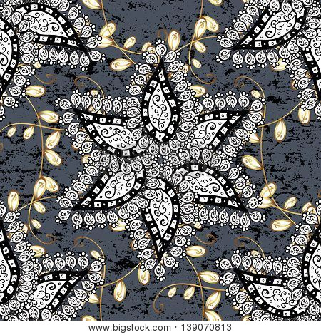 Seamless pattern with golden and white elements on grey background. Vector illustation.