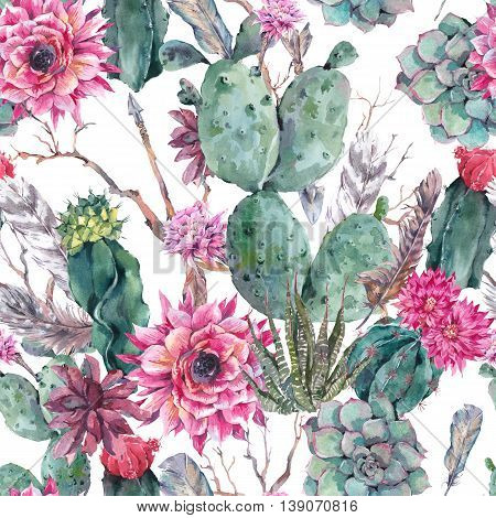 Exotic natural vintage watercolor seamless pattern in boho style. Cactus, succulent, flowers, twigs, feathers and  arrows. Botanical isolated nature cactus Illustration on white
