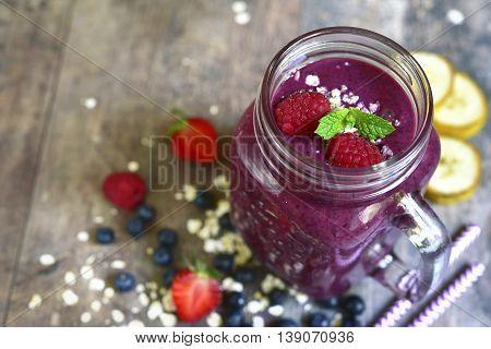 Blueberry Smoothie In A Mason Jar.