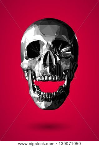 Low poly graphic grayscale 3D skull on red background
