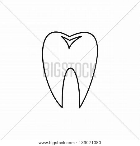 Tooth icon in outline style isolated vector illustration