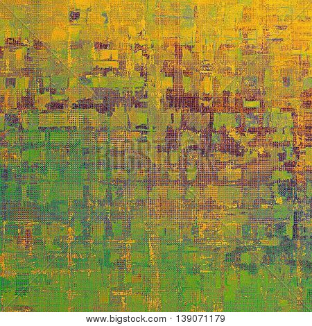 Oldest vintage background in grunge style. Ancient texture with different color patterns: yellow (beige); brown; green; red (orange); purple (violet); pink