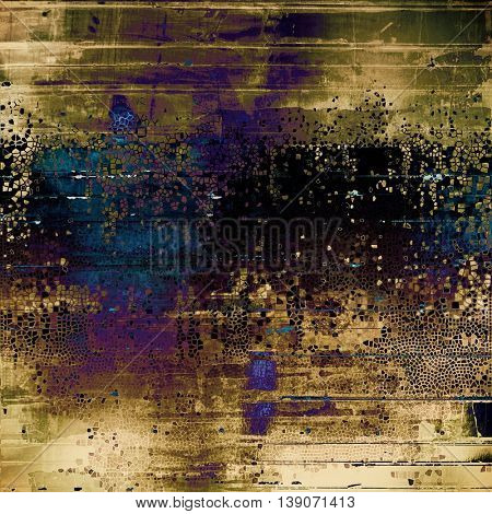 Antique frame or background with vintage feeling. Aged texture with different color patterns: yellow (beige); brown; gray; black; blue; purple (violet)