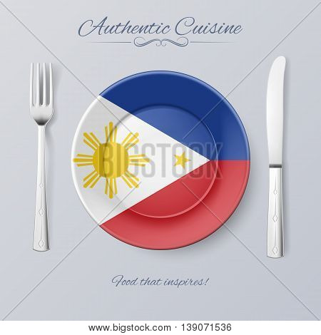 Authentic Cuisine of Philippines. Plate with Filipino Flag and Cutlery