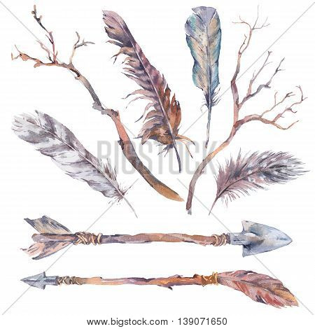 Set of watercolor branches, arrows and feathers, sprigs, isolated watercolor illustration on white Natural watercolor summer design boho elements, botanical collection