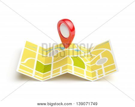 Navigation map with red position pin. Travel concept. Isolated 3d rendering illustration on white background