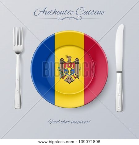Authentic Cuisine of Moldova. Plate with Moldovan Flag and Cutlery