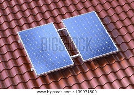 3d rendering of solar panels on the brown roof conceptual illustration
