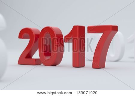 2017 Year On White Background. Soft Focus