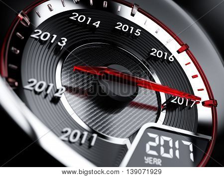 2017 Year Car Speedometer. Countdown Concept