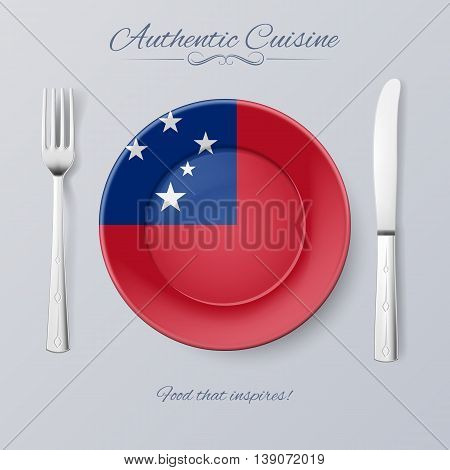 Authentic Cuisine of Samoa. Plate with Samoan Flag and Cutlery
